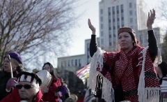 A recent Idle No More rally in Vancouver during Friday's First Nations-Harper meeting (Damien Gillis photo)