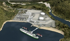 Artist's rendering of many proposed LNG plants for Kitimat and Prince Rupert