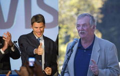 Re-elected mayors Gregor Robertson & Derek Corrigan. Photos: CP (left) / Dale Cornish/Forest Ethics (right)
