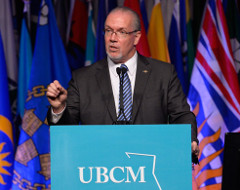 BCNDP Leader John Horgan talking LNG at UBCM meeting (Photo: BCNDP)