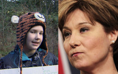 11-year-old Kate Fink-Jensen (CTV) and Premier Clark (Lyle Stafford, Postmedia)