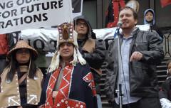 Ben West addressing a Vancouver crowd about Kinder Morgan in 2012 (Damien Gillis)