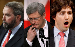 Thomas Mulcair, Stephen Harper and Justin Trudeau