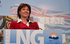 "Christy Clark promotes ""Clean LNG"" at Vancouver conference last year (David P. Ball/The Tyee)"
