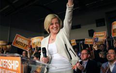 Alberta Premier Elect Rachel Notley celebrates a shocking victory (Alberta NDP facebook page)
