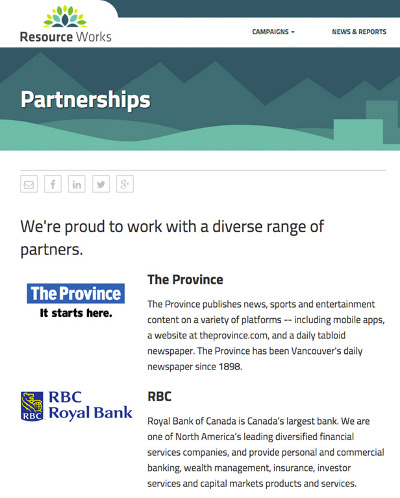 "Composite of Resource Works ""Partnerships"" page"