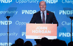 BCNDP Leader John Horgan at the party's recent convention (NDP/facebook)
