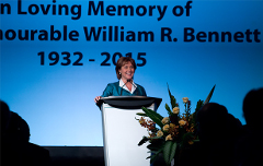BC Premier Christy Clark speaks at former Premier Bill Bennett's funeral (Province of BC/flickr)