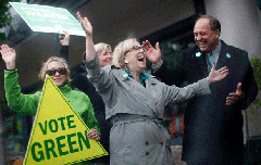 Federal Green Leader Elizabeth May with Provincial Leader Andrew Weaver (Green party/facebook)