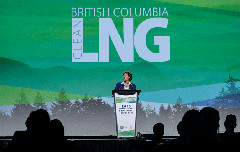 Premier Christy Clark at her government's LNG conference (Province of BC/Flickr)