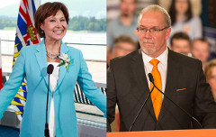 Christy Clark (Province of BC/Flickr) and John Horgan (BCNDP/Flickr)